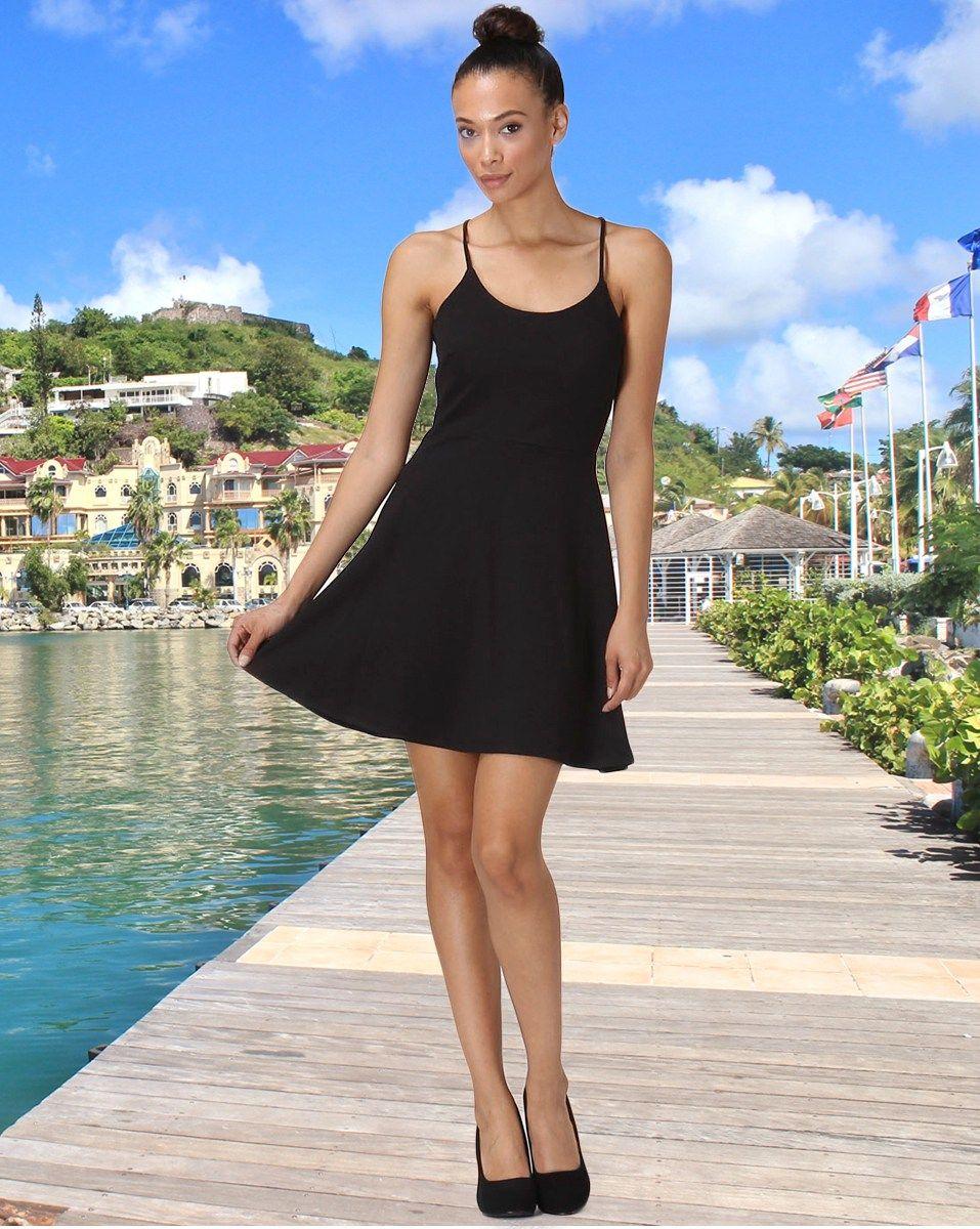 Sporty halter flare mini dressblack summer dresses pinterest
