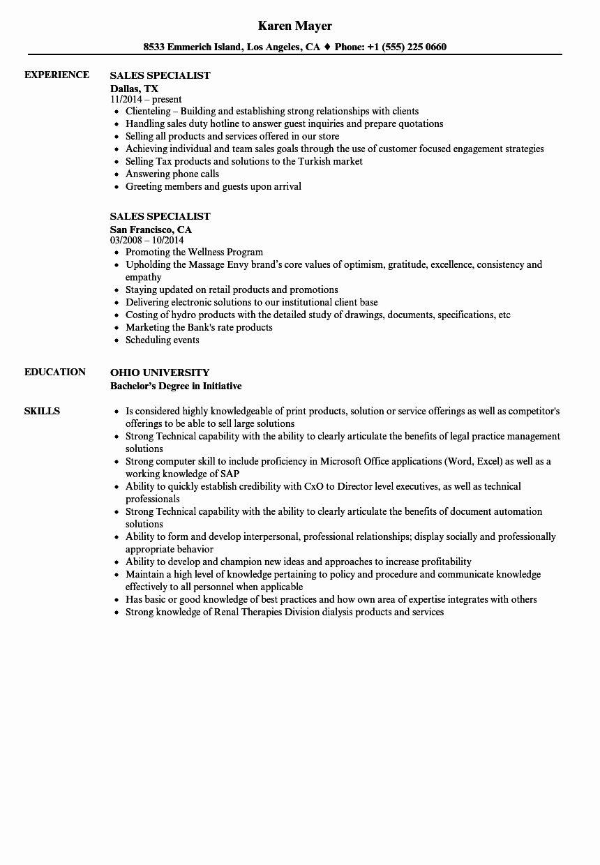Customer Support Specialist Resume Fresh Sales Speialist Resume Apple Inc Sales Specialist Good Resume Examples Recruiter Resume Resume Examples