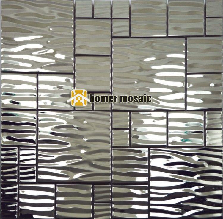 Wave Pattern Stainless Steel Metal Mosaic Metal Mosaic Tile Moder Living  Room Kitchen Backsplash Bathroom Shower