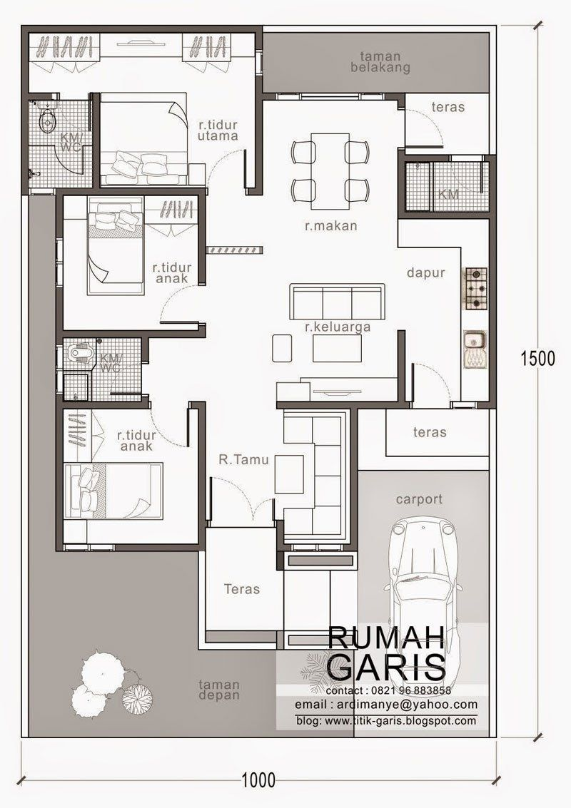 Modern House Designs For 150 Sqm Three Bedroom House Design In 150 Sq M Lot 8pinoy Eplans Denah Rumah Denah Desain Rumah Desain Rumah
