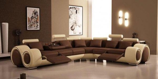 wohnzimmer gestaltungsideen tolles ledersofa in 2 farben bild - Wohnzimmer Farben Beige