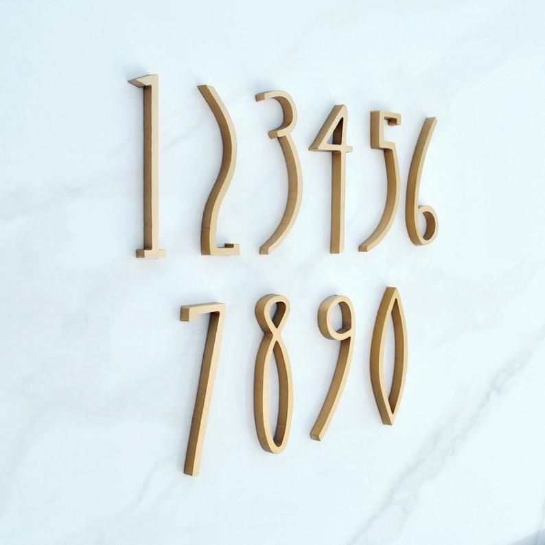 Art Deco House Numbers 4 Inch 10cm Fastening With The Etsy In 2020 Art Deco Home Art Deco Decor House Numbers