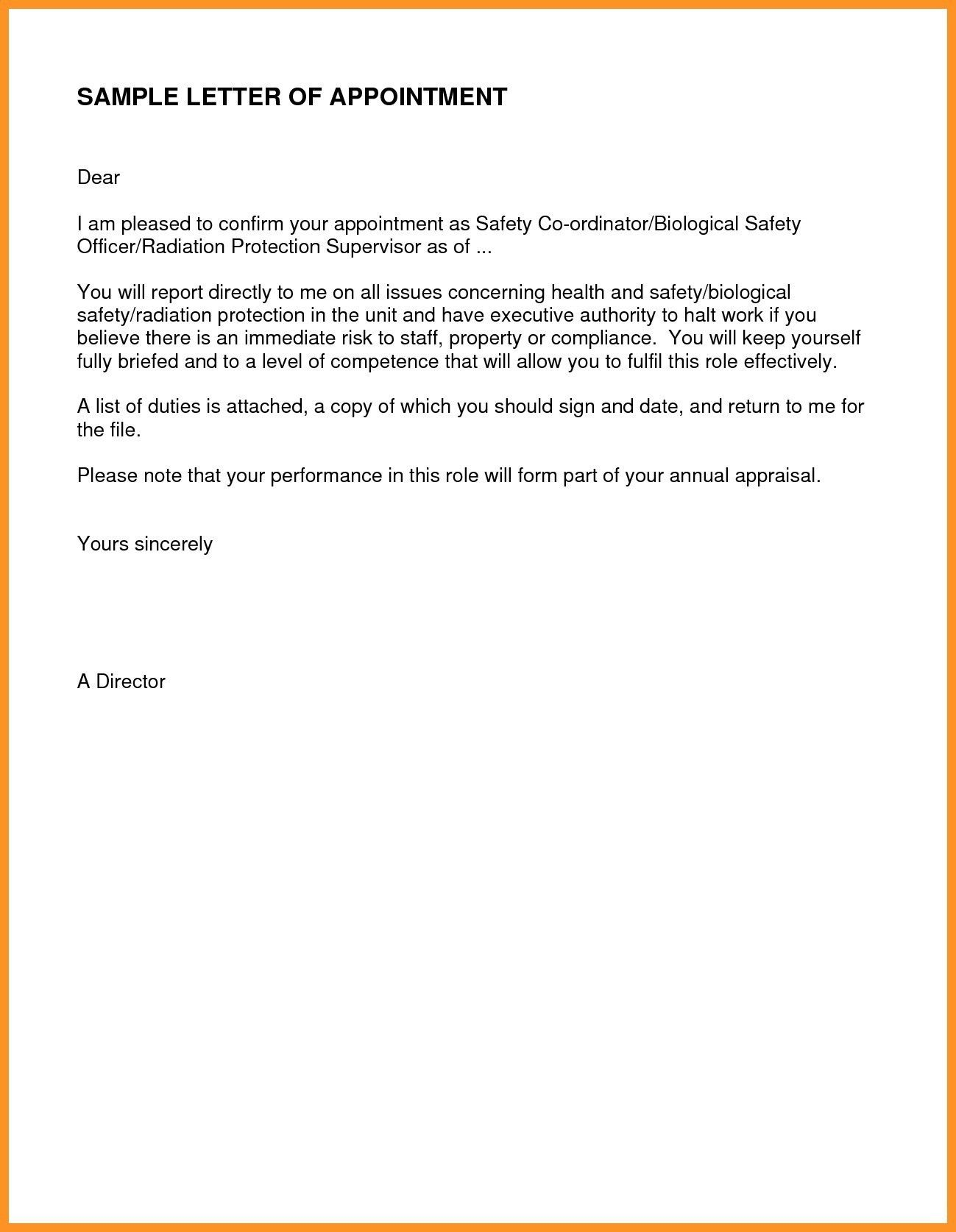 Simple Appointment Letter Format In Pdf Refrence Letter Template