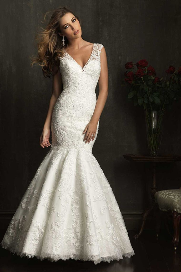 Low back lace mermaid wedding dress   V Neck Low Back Mermaid Wedding Dress Lace Bodice Sweep Train