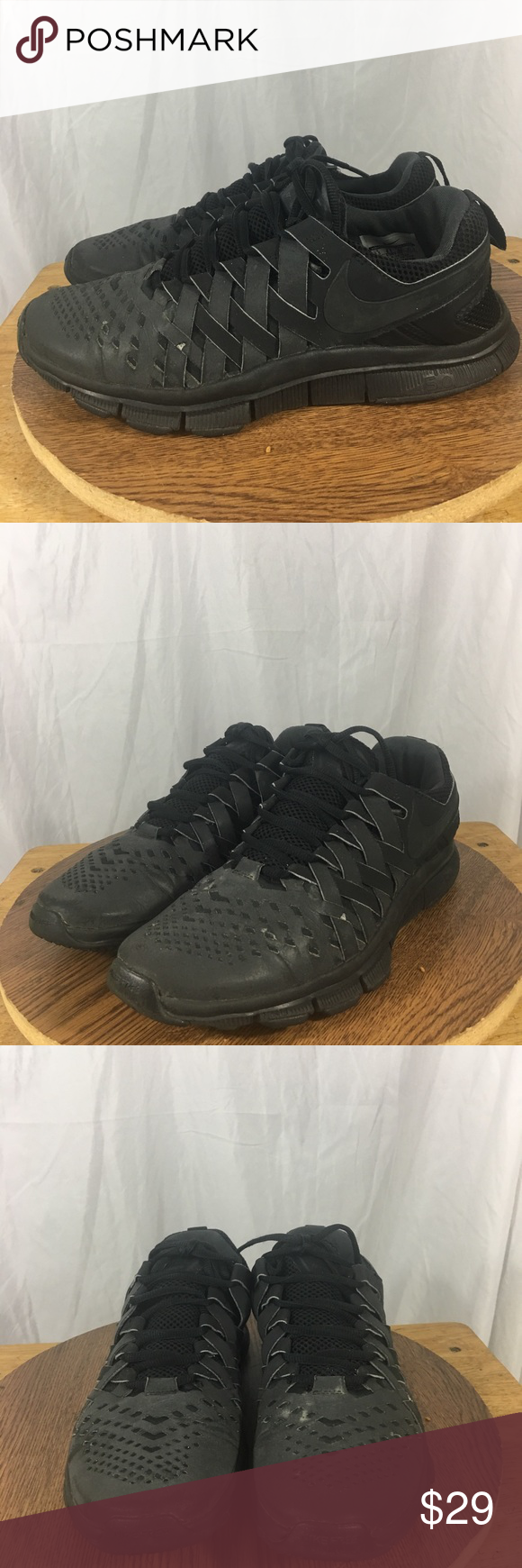 154f7e685866 Nike free trainer 5.0 men s running shoes sz 9.5 Preowned Nike free trainer  5.0 men s running shoes sz 9.5 in triple black. Shoes are in Preowned  condition ...