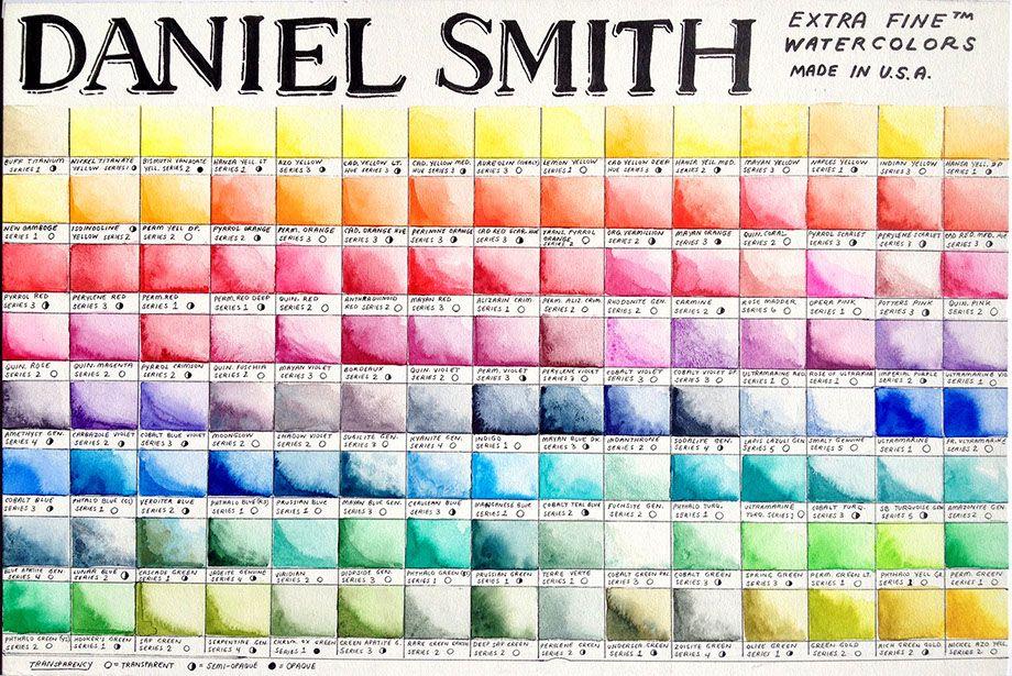 Daniel Smith Watercolor Chart 1 Color Pallette