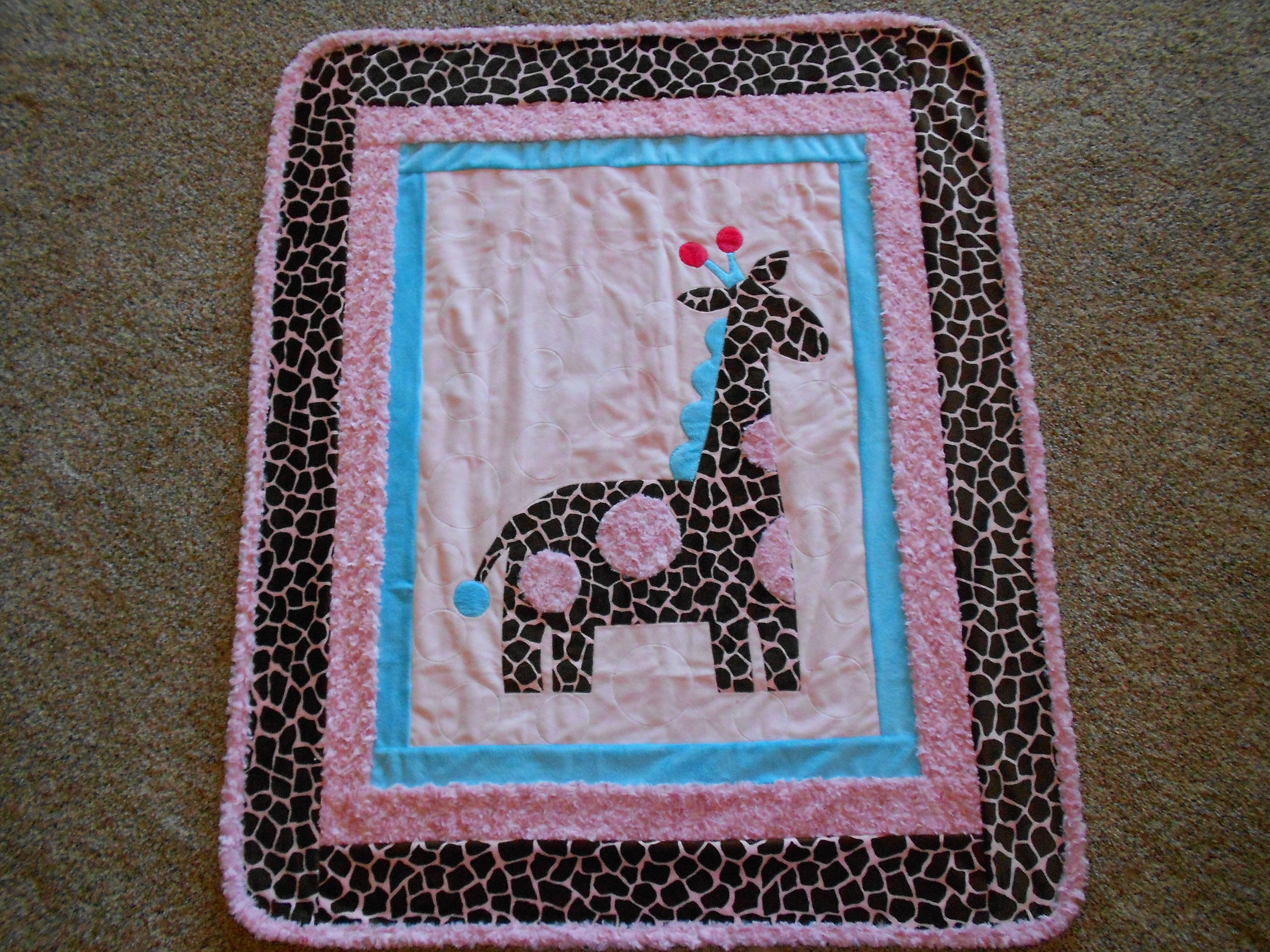 Cuddle Giraffe Minky Quilt by Shannon Fabrics Made for our great-granddaughter, Marita, when she was born.