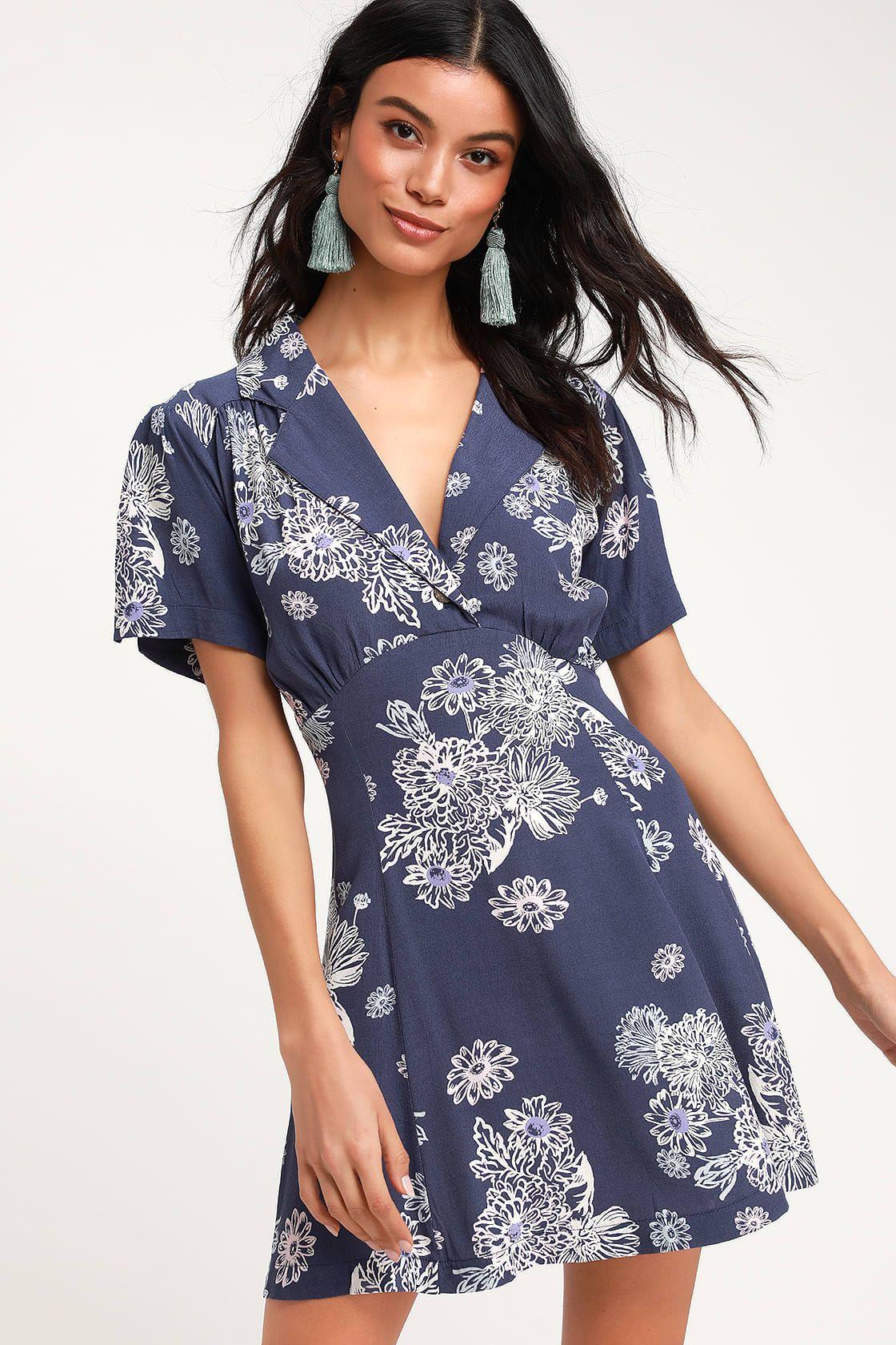 Blue Hawaii Washed Blue Floral Print Short Sleeve Mini Dress Short Sleeve Mini Dress Long Sleeve Wrap Dress Light Blue Mini Dress