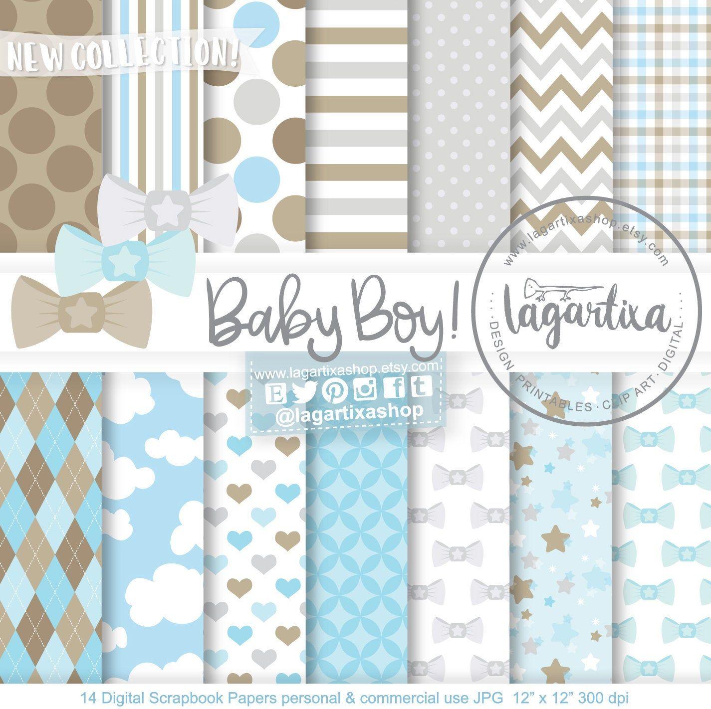 Baby Boy Digital Paper Baby Boy Baptism Baby Scrapbook Patterns Blue Baby Shower Background