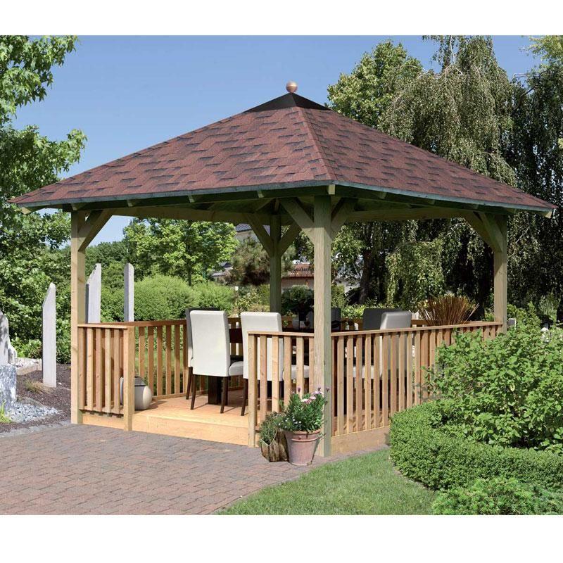 Kiosque pavillon carré avec plancher et balustrade Cordoba - 3,57 x - maison avec tour carree