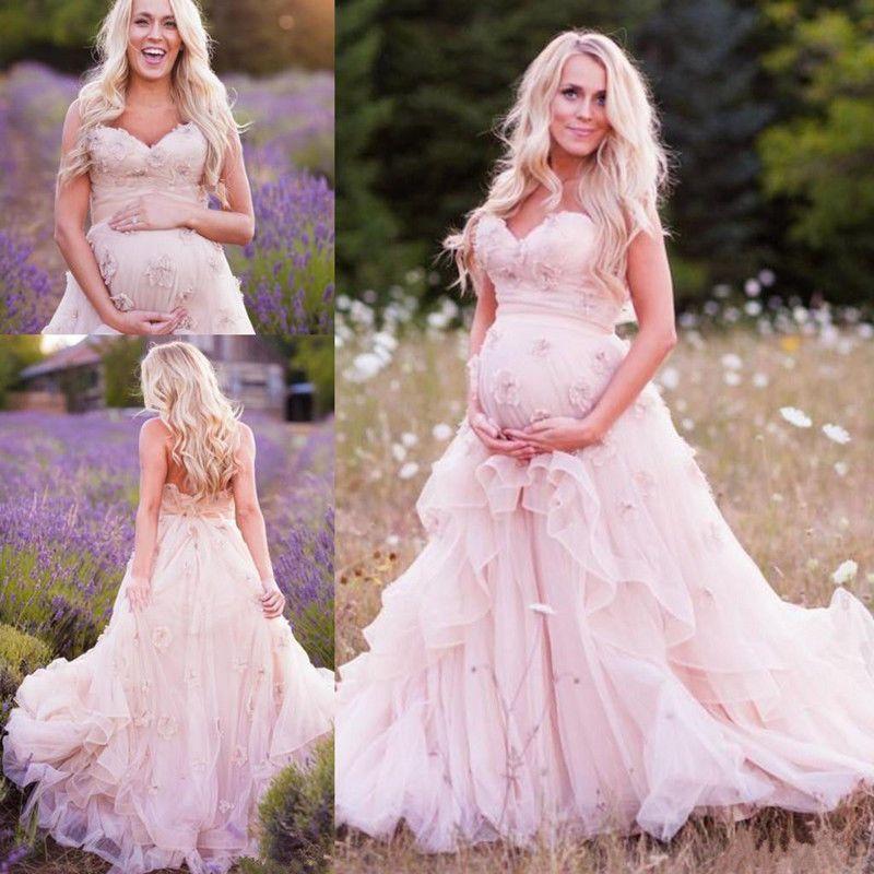 Maternity Sweetheart Ruffles Pregnant Wedding Dress Bridal Gown ...