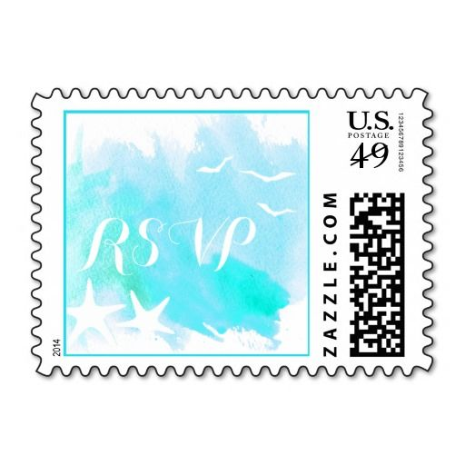 Aqua blue watercolor beach wedding RSVP Stamp