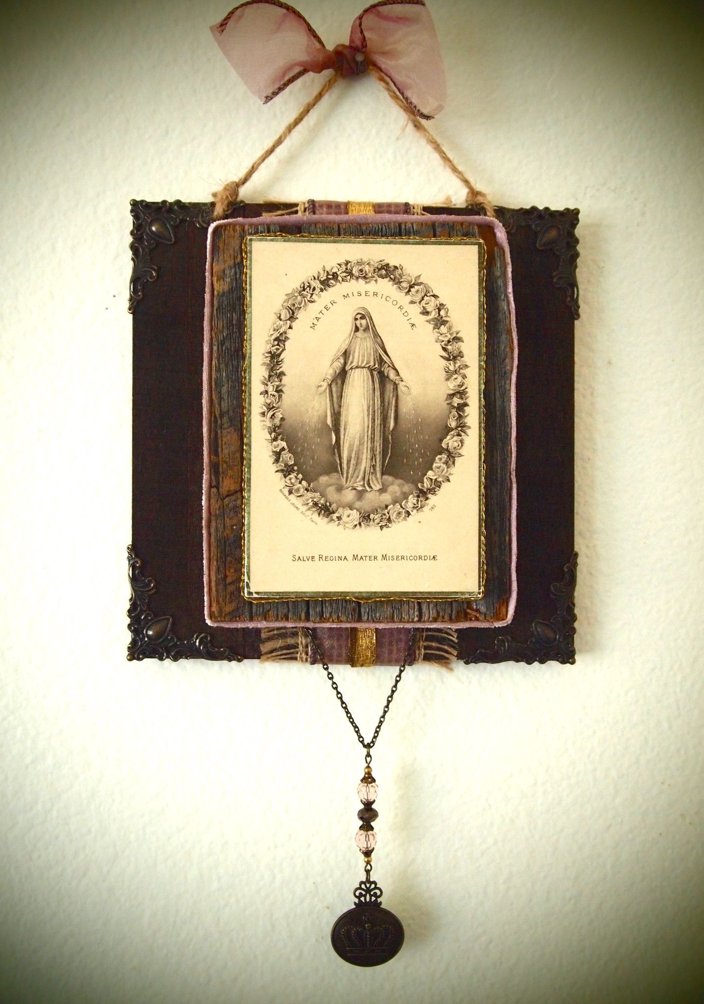 Rustic Wall Art Antique Holy Card Virgin Mary Catholic Decor ...