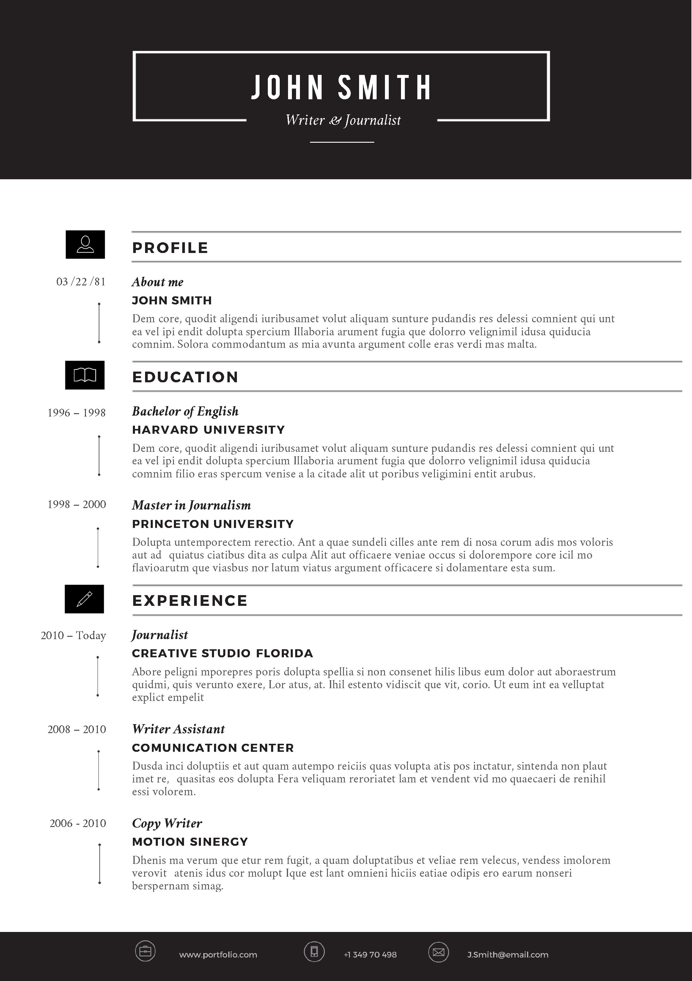 Microsoft Word U2013 Sleek U2013 Resume Template 1  Standard Font For Resume