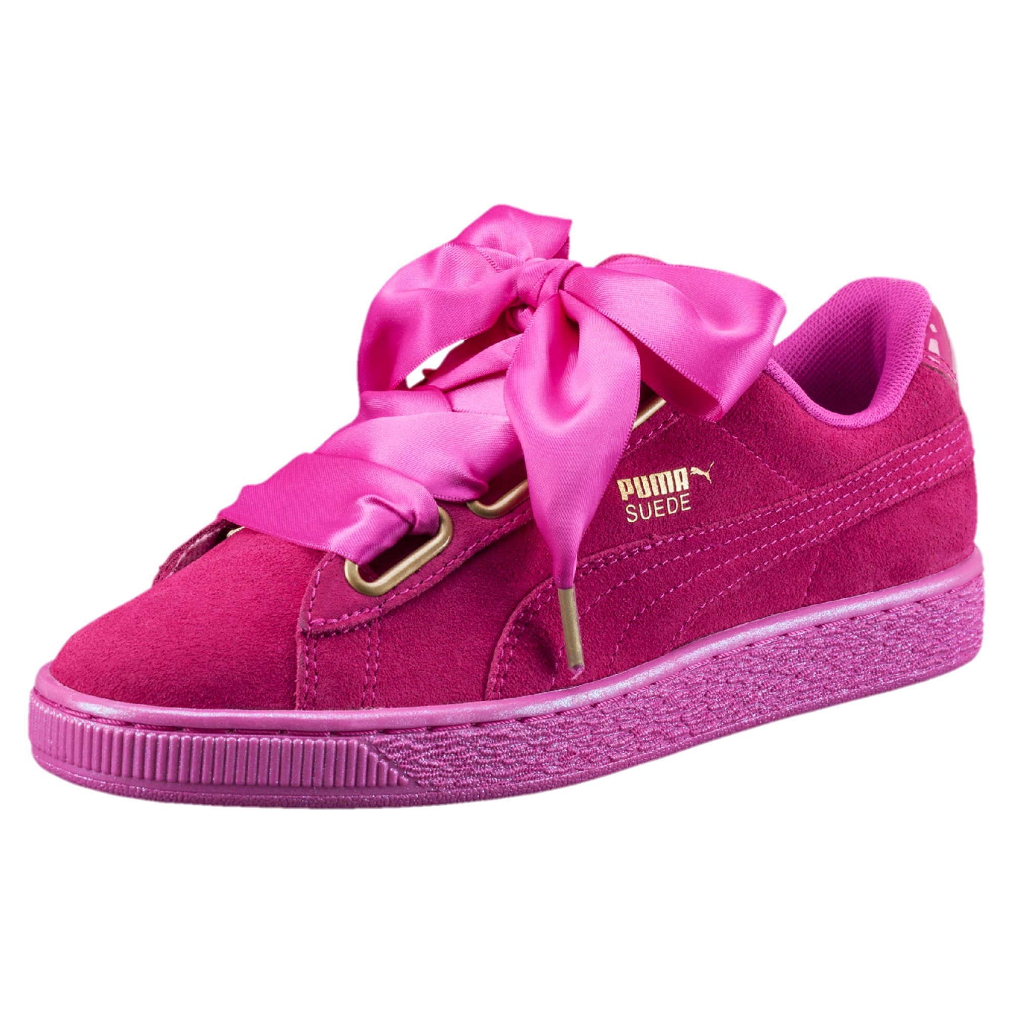 aa7de631478 Suede Heart Satin Women s Sneakers in ULTRA MAGENTA