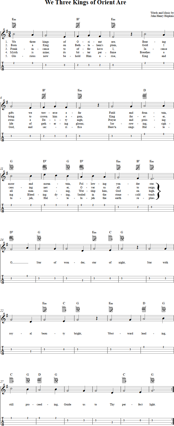 We Three Kings of Orient Are Ukulele Sheet Music   Belle\'s ...