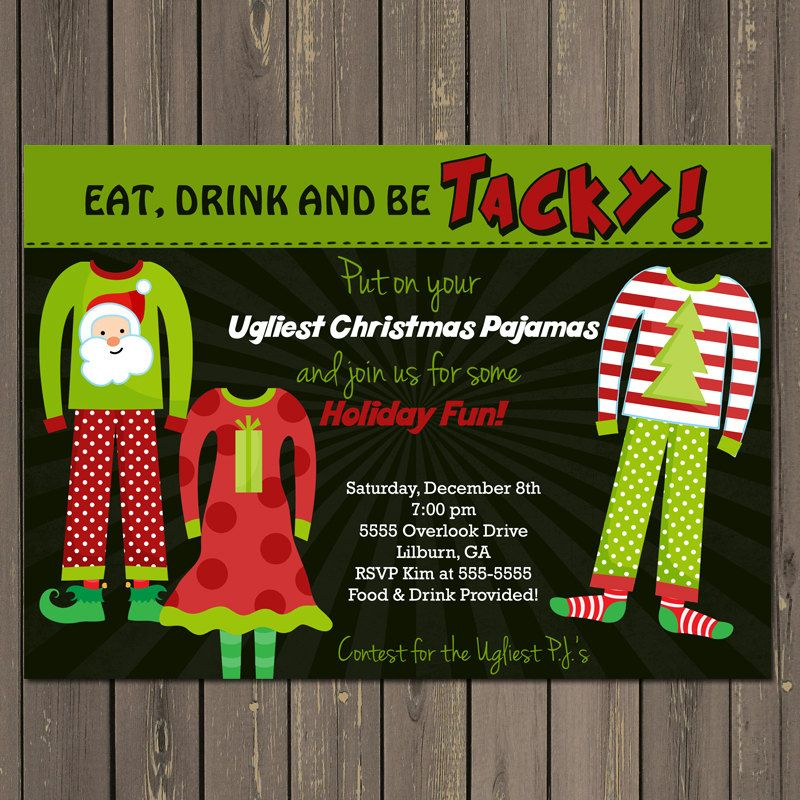 bd78401f3d ugly pajamas party for couples | Holiday Party Invitation Ugly Pajama Party  Invitation