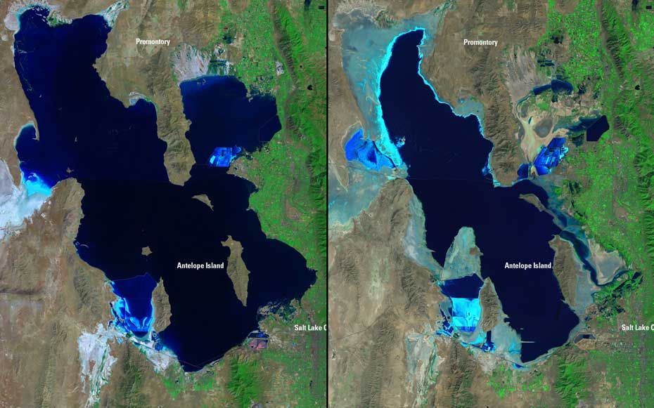 Nasa Has Satellite Images Comparing Then To Now For A Variety Of Land Forms Showing Human Impact On The Environme Historical Geography Science Satellite Image