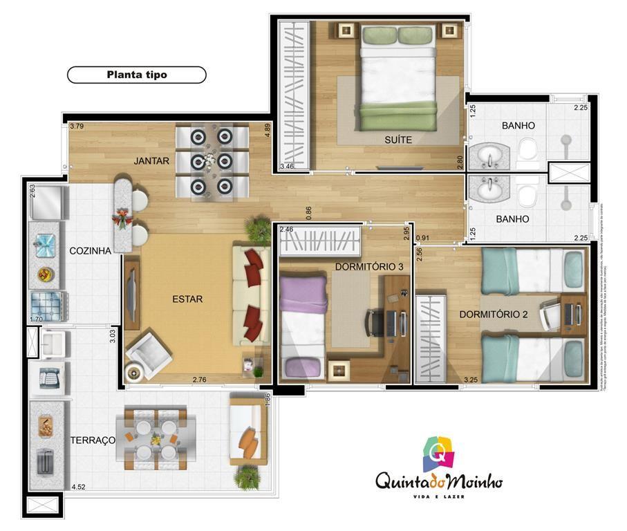 Apartamento de 80 mts planta baixa pesquisa google for Casa minimalista 80 metros