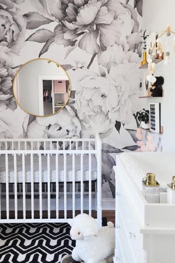 Contemporary Baby Girl Nursery Floral Wallpaper