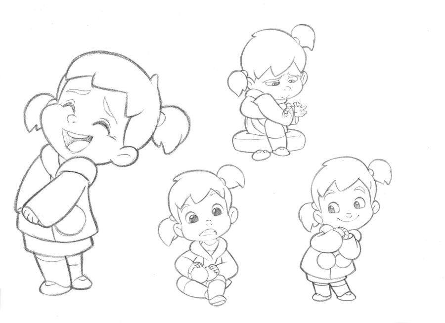 Little girl character sketches test for mercury filmworks by anderson mahanski