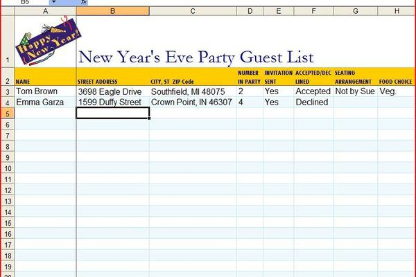 How To Make A Guest List On An Excel Template Guest List