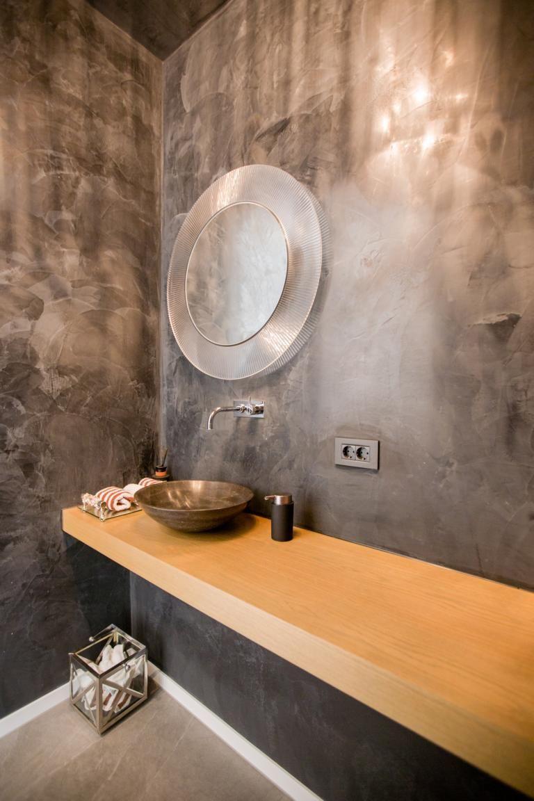 Waschtisch Eiche Runde Badezimmerspiegel