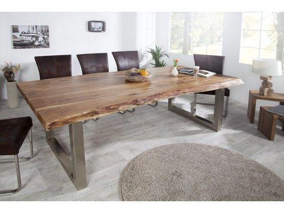 Table à manger en bois massif du0027acacia Elissa 160 cm meuble