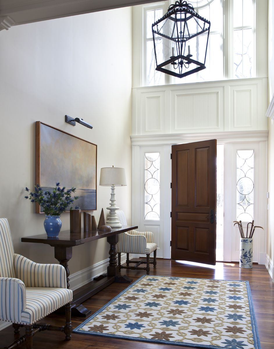 Traditional Grand Entry With White Walls Light Blue Gold Runner Sitting Area With Side Table Scott Sand Foyer Design Minimalist Entryway Foyer Furniture