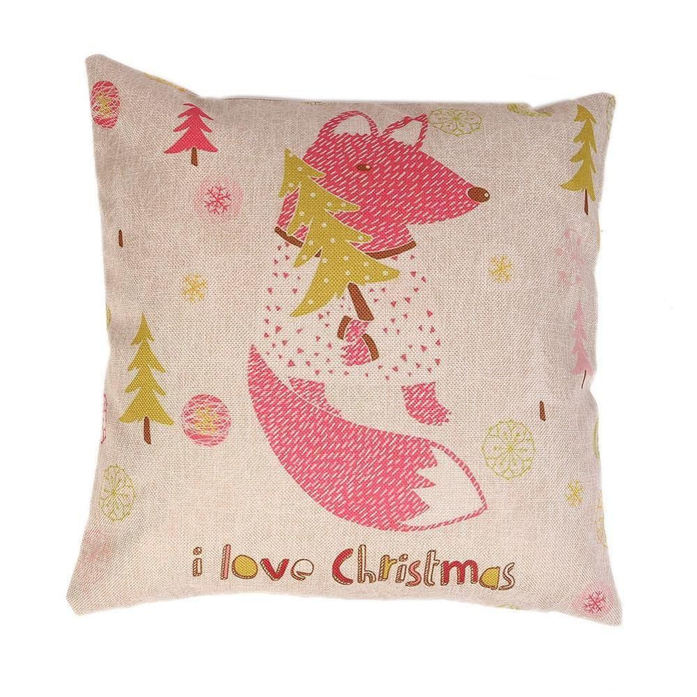 Hot Sale Linen Christmas Pillow Case Christmas Squirrel Pillow Cover Cushion Fes