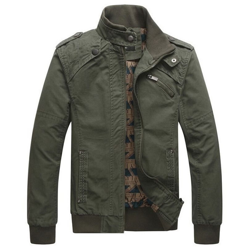 Jacket men Casual Winter Jacket Cotton Stand Collar Coats Army ...