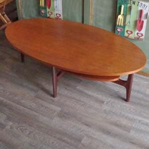 Mid Century Oval Teak Coffee Table With Shelf Vintage Home Boutique 1 Fabulous