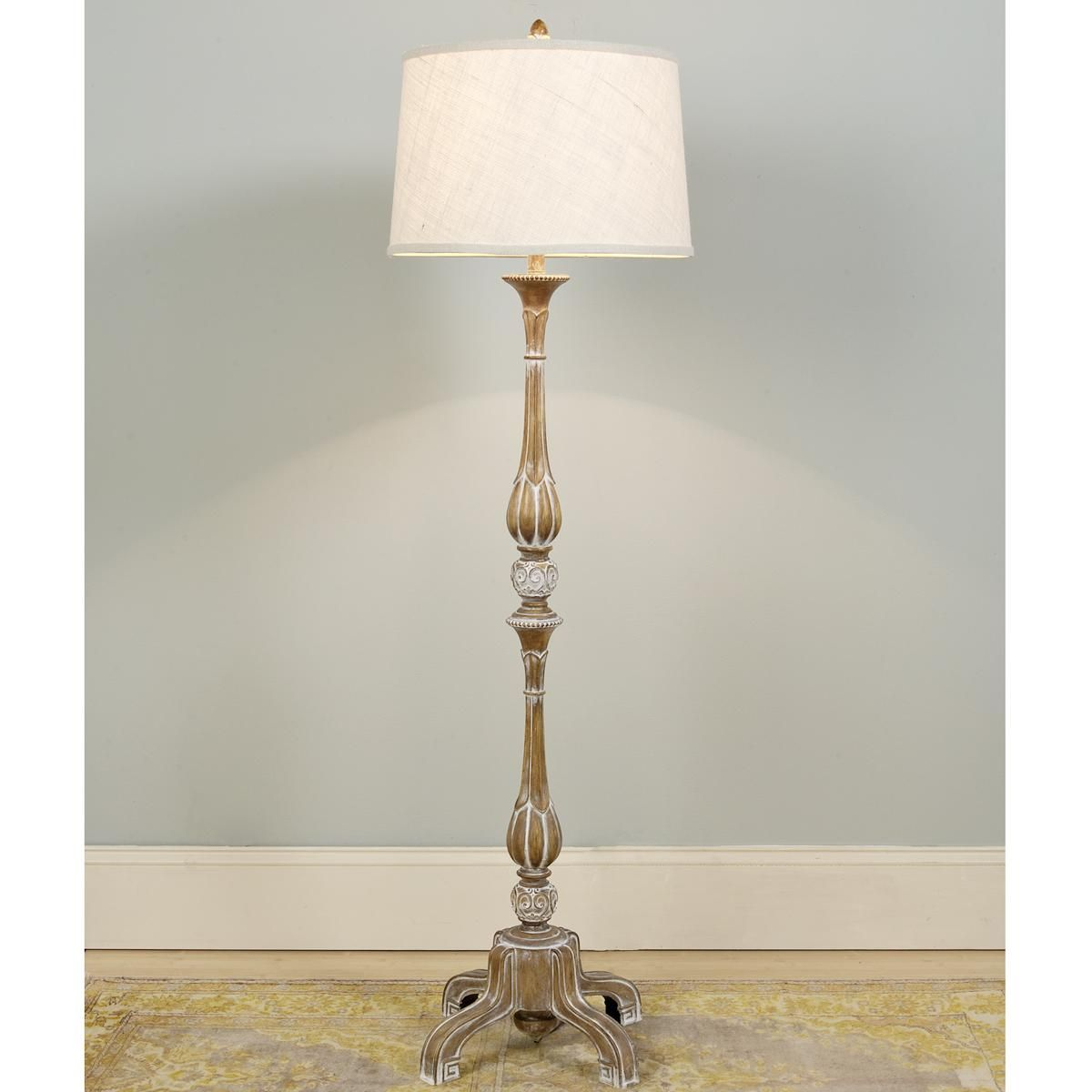 French Provincial Pickled Wood Floor Lamp Wood Floor Lamp Country Floor Lamps French Lamp