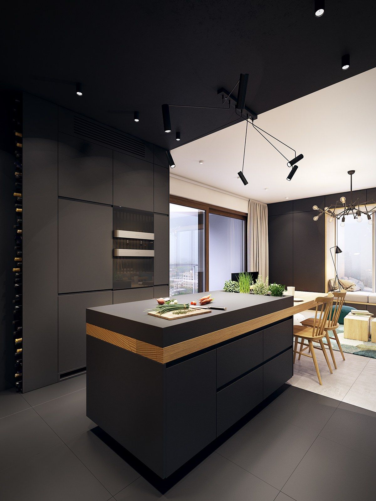This Contemporary Apartment Pops With Turquoise Accents Black Kitchens,  Home Kitchens, Kitchen Black,