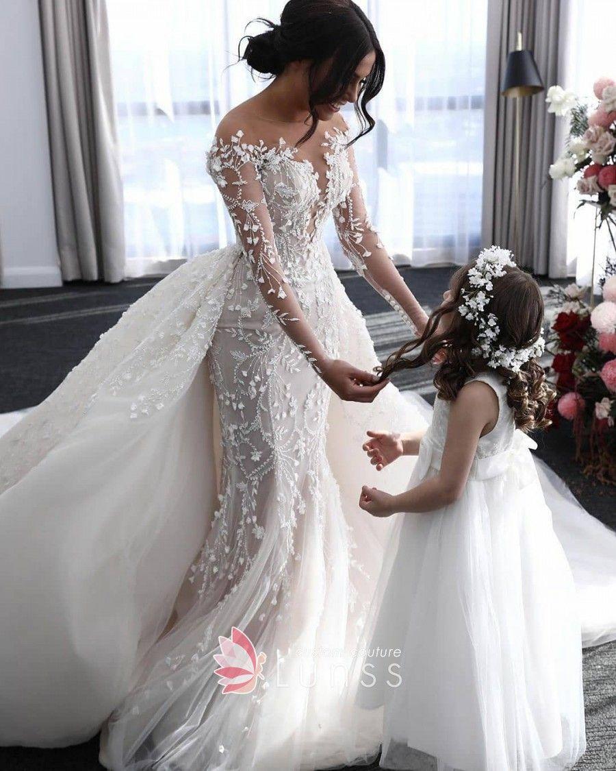 Vine Lace Mermaid Church Bridal Dress With Overskirt Wedding Dress Sleeves Wedding Dress Guide Wedding Dress Long Sleeve [ 1125 x 900 Pixel ]