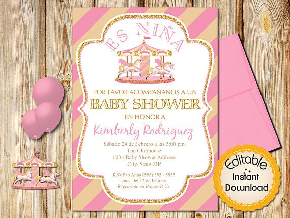 spanish baby shower invitation girl pink and gold carousel, Baby shower invitations