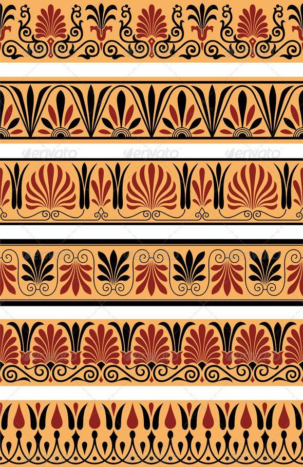 Vectors Greek Borders Graphicriver Greek Art Ancient Greek Art Pattern Art