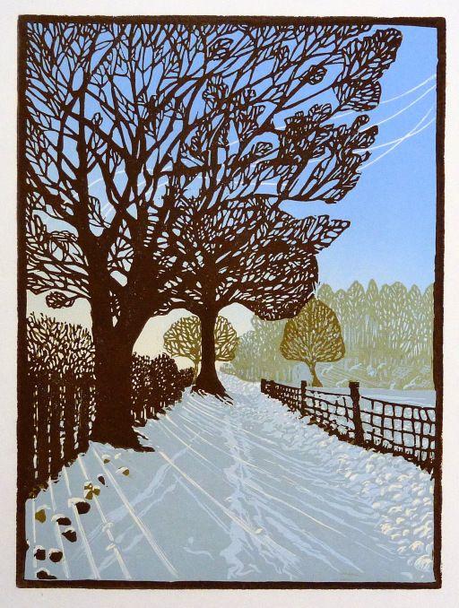 Snow Scene original linocut print