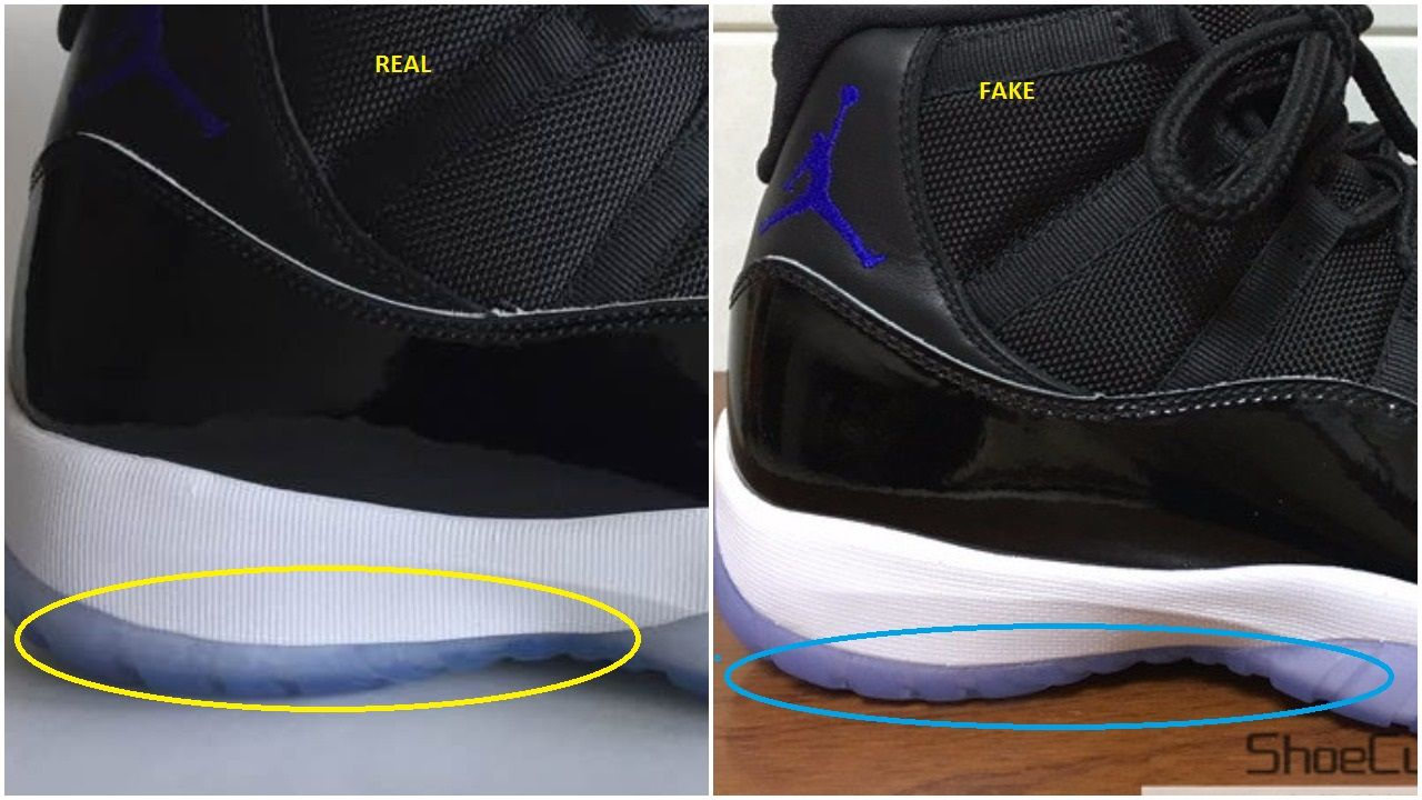 ae7b6bf9b2426e Real Vs Fake Air Jordan 11 Retro Space Jam  45 in 2019