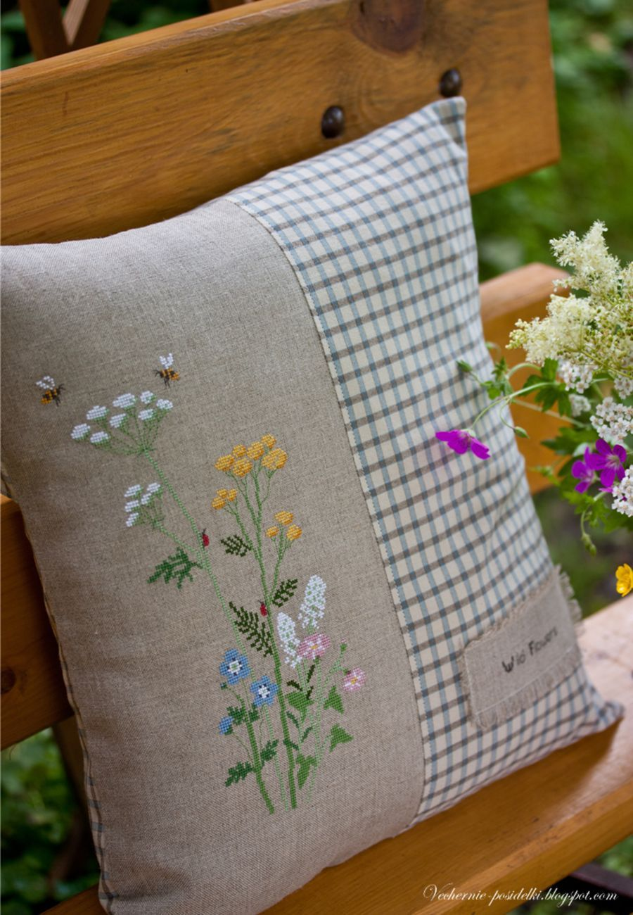 Wild flowers cushion embroidery patterns pinterest pillows