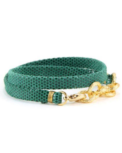 Green Polka Dot Leather Strap Bracelet