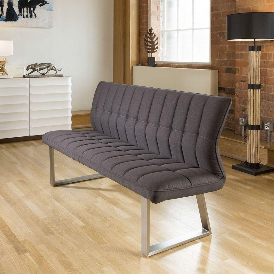 Quatropi 3 Seater Stylish Padded Dining Bench Charcoal