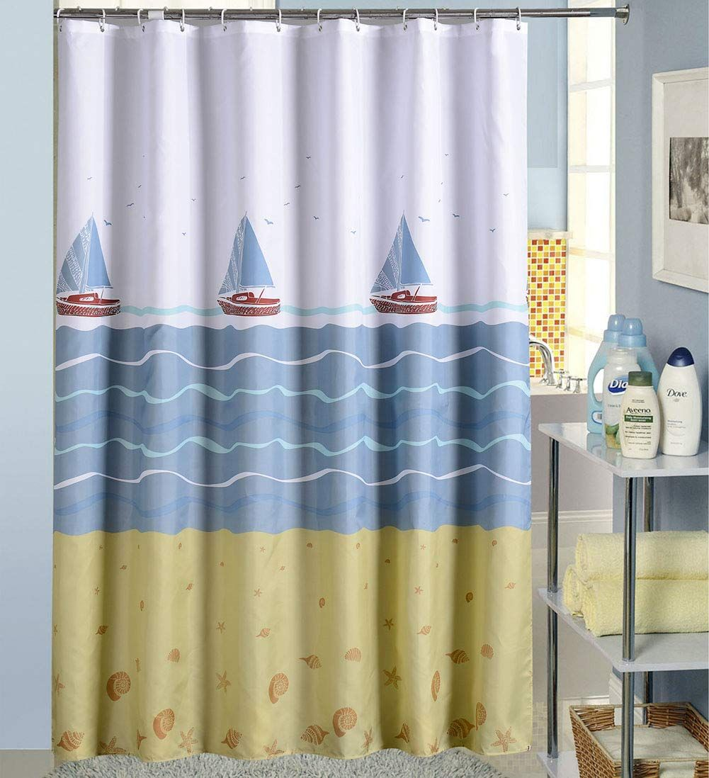 Kailun Waterproof Polyester Fabric Shower Curtain Midew Resistant