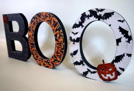 SET OF 3 Custom made Halloween wooden letters by MillyandMeDesigns, $36.00
