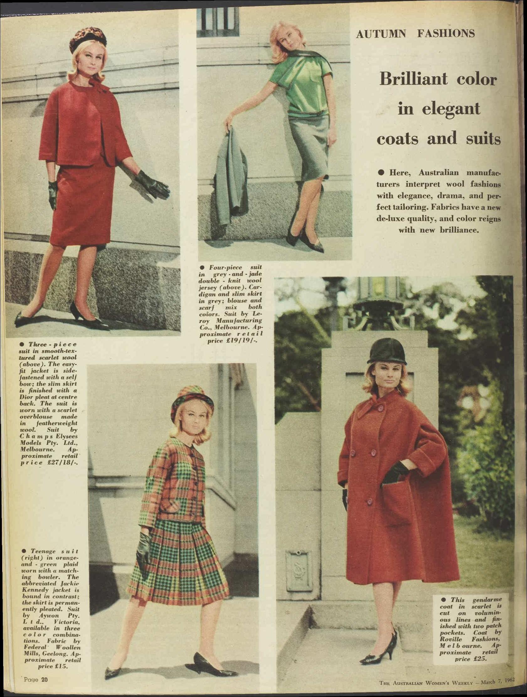 Issue 7 Mar 1962 The Australian Women S Week Elegant Coats Autumn Fashion Women