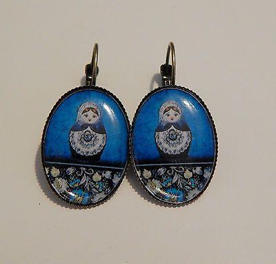boucles d'oreilles bronze cabochon 25x18mm impression photo *poupées russes*4 €4.80
