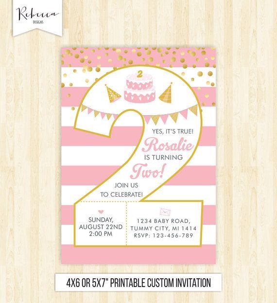 2nd birthday girl invitation second birthday invite girl birthday