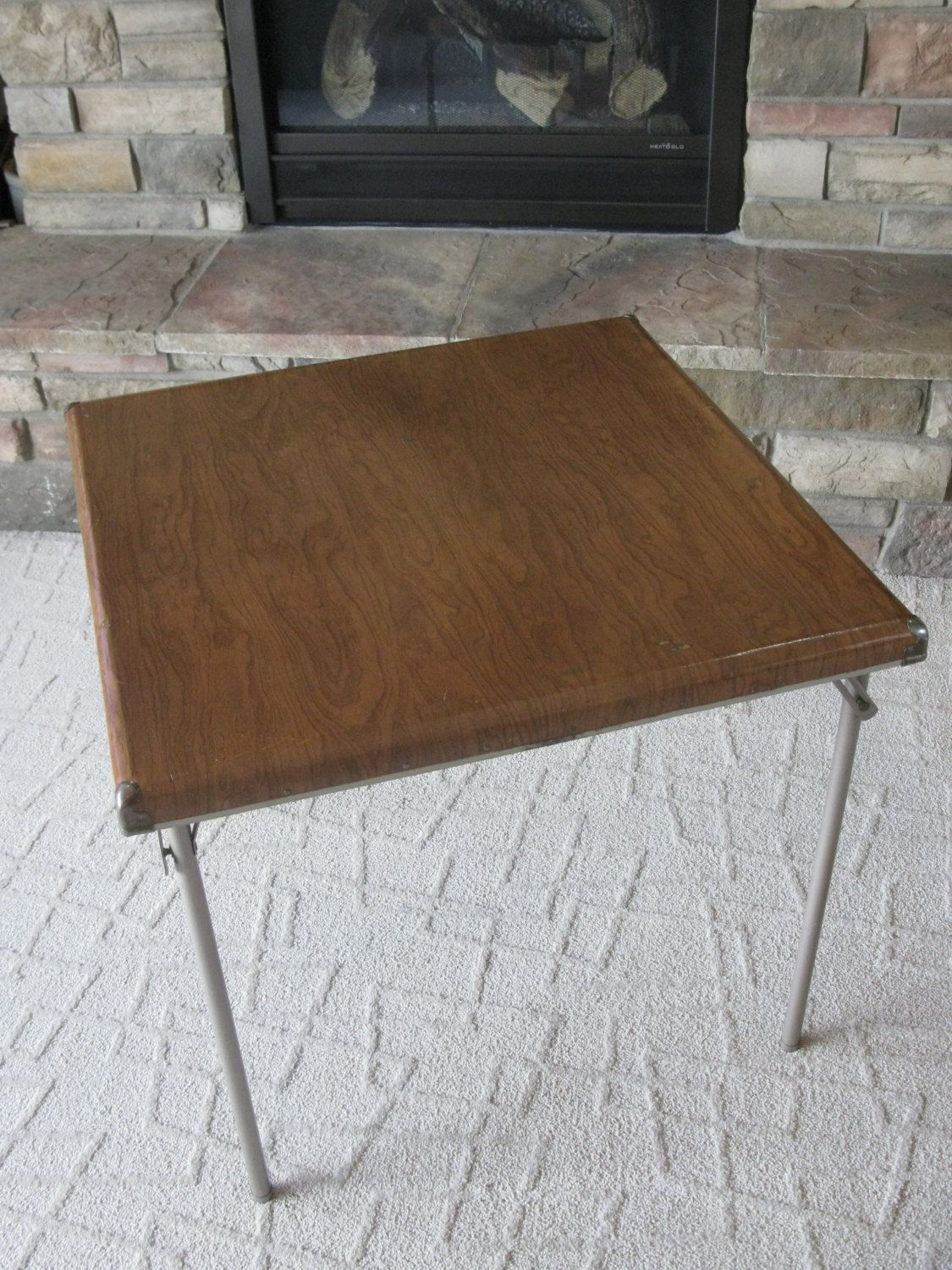 Vintage Samsonite Card Table   1950s  Folding Table  Metal Legs  Faux Wood  Design