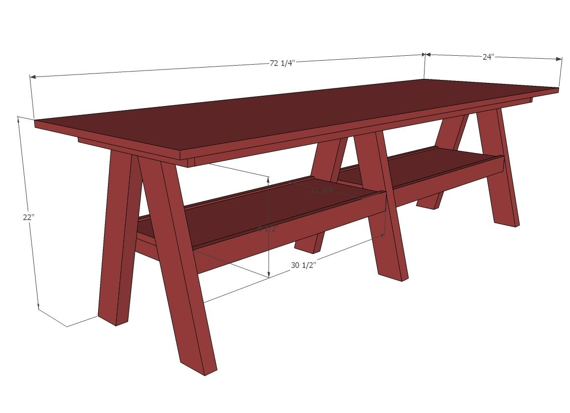 Double trestle play table play table diy furniture