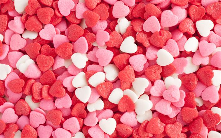 Download Wallpapers Hearts Candy 4k Sweets Love Texture Besthqwallpapers Com Imagenes De Amor Wallpapers Hearts Descargar Fondo De Pantalla